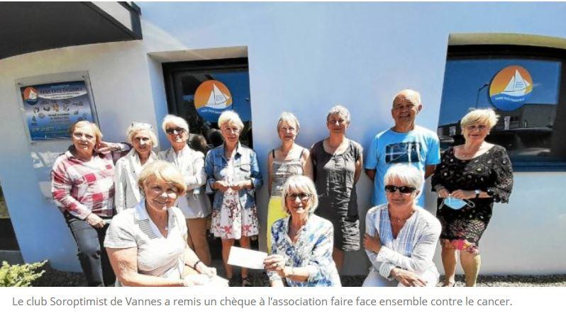 """Soroptimist Vannes remet     1 000 € à """"Faire face ensemble"""" contre le cancer"""