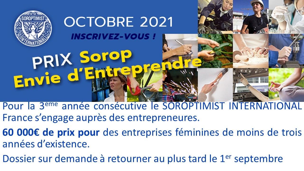 """Nouvelle campagne de prix  """"SOROP Envie d' Entreprendre """""""