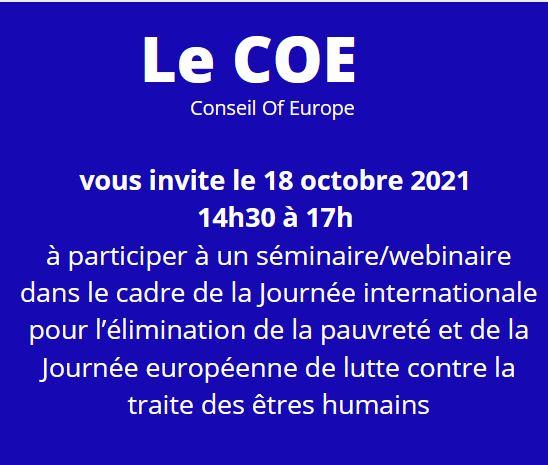 Conférence du COE le 18 octobre de 14 h 30 à 17 h